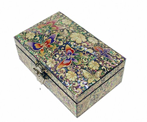 Mother of Pearl Butterfly & Flower Design Jewelry Box Nacre Artian Handcrafted Jewellry Case,trinket Gift by JMcore Jewelry Box