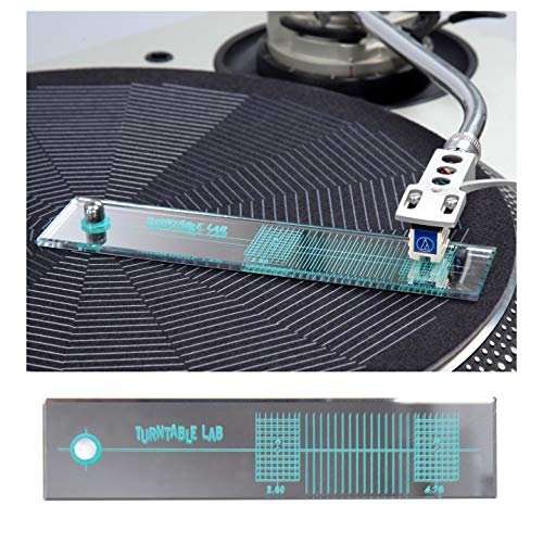 (Turntable Lab: Turntable Phono Cartridge Alignment Protractor Tool - Mirrored Surface for Precision)