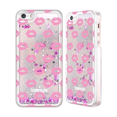 Official Cosmopolitan Hot Pink Kiss Mark Silver Liquid Glitter Case Cover for Apple iPhone 5 / 5s / SE