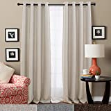 Linen Textured Room Darkening Curtains for Bedroom Blackout Drapes 84 inch Long Moderate Blackout Curtain in Beige, One Panel