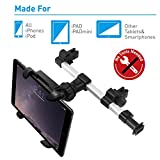 Macally Car Headrest Mount Holder for Apple iPad Pro / Air / Mini, Tablets, Nintendo Switch, iPhone, & Smartphones 4.5 to 10 Wide with Dual Adjustable Positions and 360° Rotation (HRMOUNTPRO)