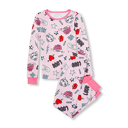 The Children's Place Girls' Big Long Sleeve Graphic Pajama Set, Cameo, 14 by The Children's Place (Image #1)