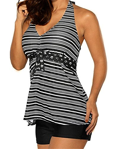 8e064c87cc Urban Virgin Women s Bandage Plus Size Top Sexy Retro Tankini Two Piece  Swimsuit With Boy-Short