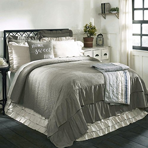 Ruffled Chambray Reversible King Quilt 95quot x 105quot Farmhouse Style Bedding TaupeGrey Reverses To Natural Beige