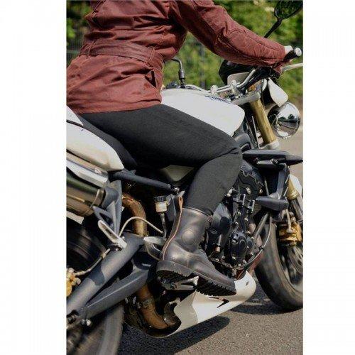 nero taglia 8 Bikers Gear Australia Limited leggings Kevlar foderato moto di con rimovibile CE Armour