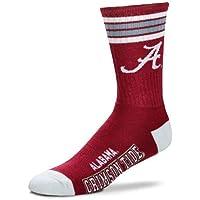 For Bare Feet Mens NCAA 4 Stripe Deuce Crew Socks, Alabama Crimson Tide, Large