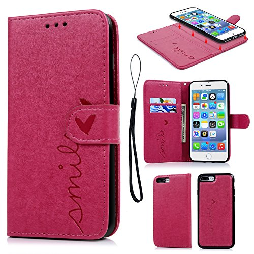 iPhone 8 Plus Case, iPhone 7 Plus Wallet Case Embossed Love PU Leather Case TPU Shock Bumper Magnetic Detachable Card Slots Hand Strap Cover for iPhone 7 Plus & iPhone 8 Plus