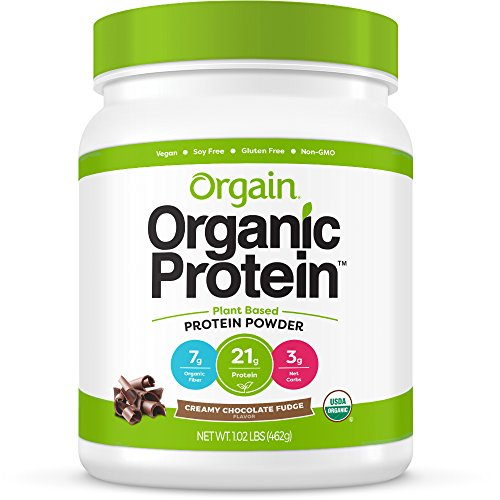 Orgain Organic Plant Based Protein Powder, Creamy Chocolate Fudge - Vegan, Low Net Carbs, Non Dairy, Gluten Free, Lactose Free, No Sugar Added, Soy Free, Kosher, Non-GMO, 1.02 ()