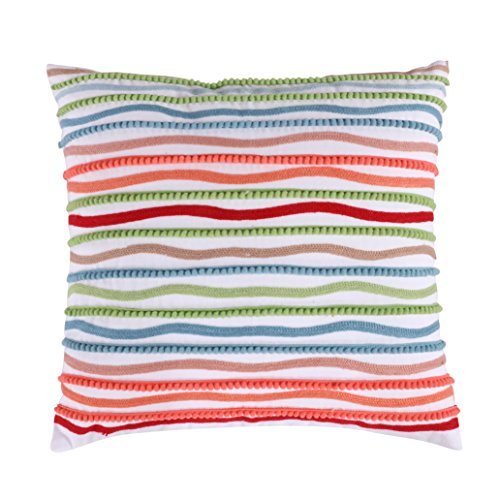 Levtex Simone Floral Multi Crewel Pom Pom Pillow, Multi, Solid