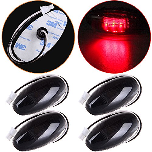 (cciyu 4 Pack Red Sealed Rear 3 LED Side Fender Marker Light Smoked Lens Clearance Lights Replacement fit for Chevrolet)