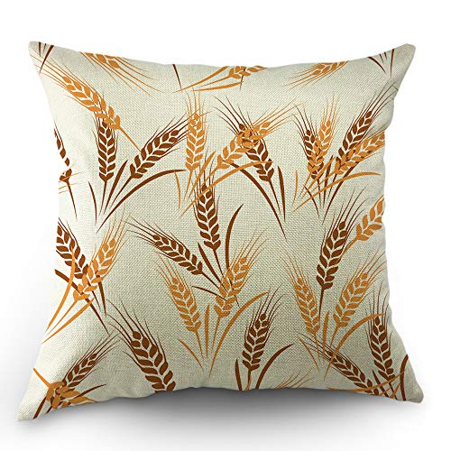 Moslion Wheat Pillow Cover Nature Fall Harvest Season Wheat Ear Rural Farm Plant Throw Pillow Case 18x18 Inch Cotton Linen Decorative Square Cushion Cover Valentine's Day for Sofa Bed Yellow