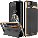 iPhone 7 Wallet Case,iPhone 8 Wallet Case,BSlvwg [Military Grade Drop Protection] Flip Leather Cover ID&Credit Card Slots Holder Magnetic Lock Stand for iPhone 7 and iPhone 8 - Gold and Black