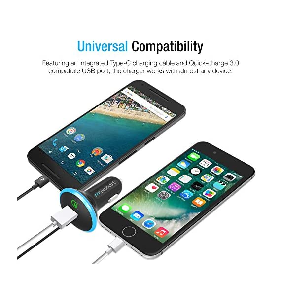 Trianium 36W Dual USB Output Smart Port with Qualcomm Quick Charge 2.0 for Samsung Galaxy S7 S6 Edge,LG G5 G4,HTC 10 A9,Nexus 5X 6P,Pixel,iPhone 7 6//6S Plus,Note 5 4 3 Quick Charge 2.0 Car Charger