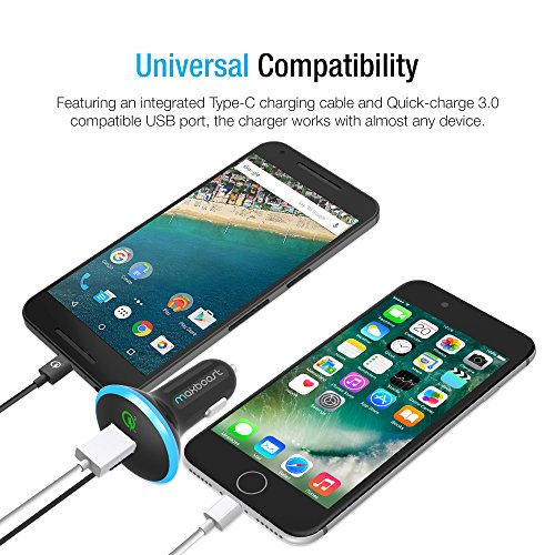 Type C Car Charger, Maxboost 36W Quick Charge 3.0 USB Port + Built-in USB C (3.1) Cable for Galaxy S9 S8 Plus, Note 8, LG G6 G5 V20, HTC 10, Nexus 6P 5X, Macbook, iPhone, OnePlus,Nintendo Switch by Maxboost (Image #7)