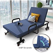 "H&A 75""x 32"" Folding Rollaway Bed Adjustable Guest Bed Chaise Lounge Chairs with Reversible Mattress and Pillow (Navy Blue)"