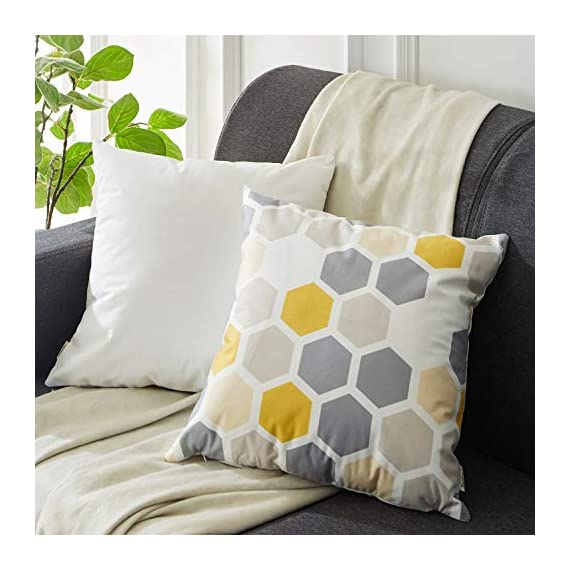 Top Finel Square Decorative Throw Pillow Covers Soft Microfiber Outdoor Cushion Covers 18 x 18 for Couch Sofa Bedroom, Set of 6, Grey & Yellow - SUPER PLUSH MATERIAL & SIZE: Made of ultra soft microfiber, comfortable to touch and lay on. 18 X 18 Inch per pack, included 6 packs per set, NO PILLOW INSERTS. WORKMANSHIP: Delicate hidden zipper closure was designed to meet an elegant look. Tight zigzag over-lock stitches to avoid fraying and ripping. NO PECULIAR SMELL: Because of using environmental and high quality ultra soft fabric,our throw pillow cases are the perfect choice for those suffering from asthma, allergen, and other respiratory issues. - patio, outdoor-throw-pillows, outdoor-decor - 51zK4xpY7uL. SS570  -