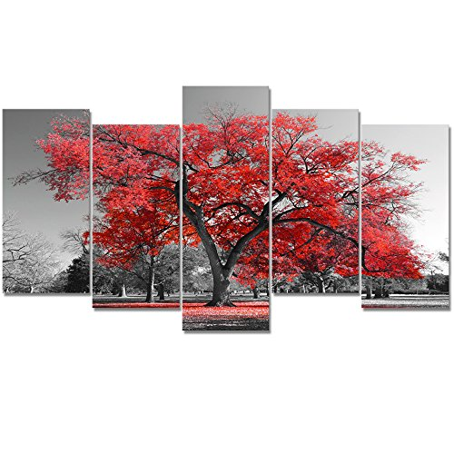 Visual Art Decor Large Canvas Wall Art Black and White Red Tree Photograph Picture Framed and Stretched Prints Modern Living Room Office Wall Decoration (02 Red) ()