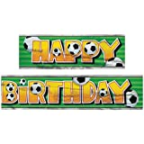 12ft Foil Soccer Party Happy Birthday Banner