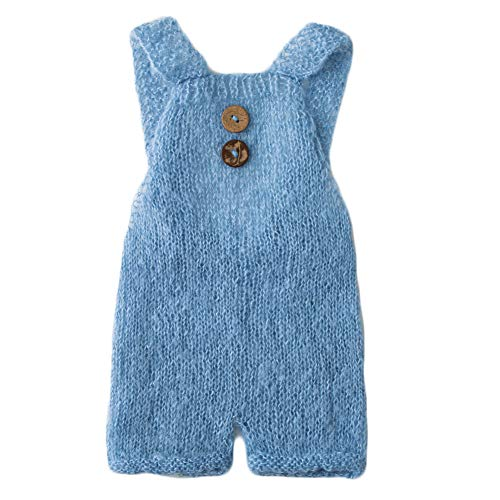 (Baby Photography Props Boy Girl Photo Shoot Outfits Newborn Crochet Costume Infant Knitted Clothes Mohair Rompers (Light Blue))