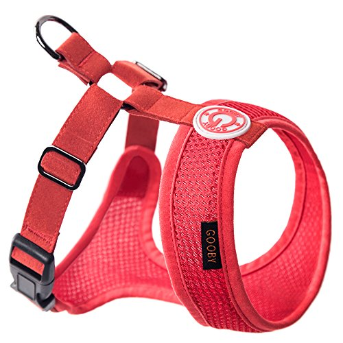 (Gooby - Freedom Harness II, Choke Free Mesh Harness for Small Dogs with Microsuede Straps, Red, X-Small )