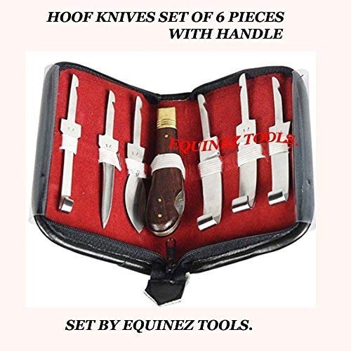 Equinez Tools Farrier Hoof Knife Kit Set Zip Up Wallet - Premium Quality Stainless Steel Blade by Equinez Tools