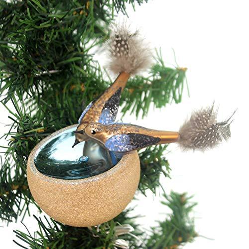 Ornaments Glass Czech - Golden Bell Collection Birds in BIRDBATH Glass Ornament Czech Republic Br442