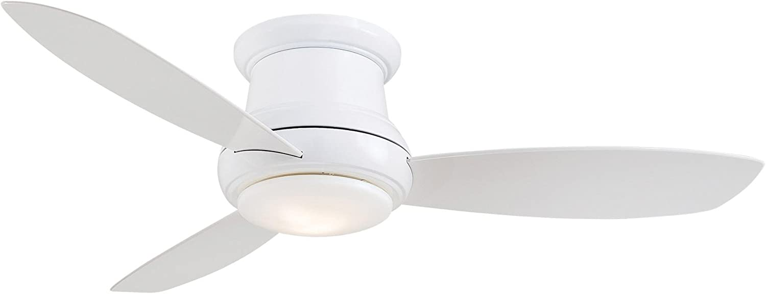 """Minka-Aire F519L-WH, Concept II LED White Flush Mount 52"""" Ceiling Fan with Light & Remote Control"""