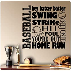Baseball Sayings Wall Decal Sticker Art Mural Home Décor Quote