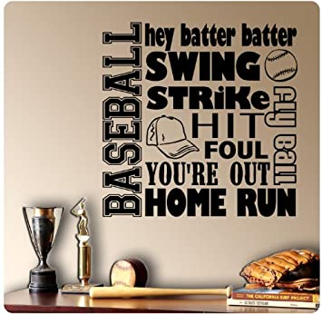 Baseball Sayings Wall Decal Sticker Art Mural Home Decor Quote