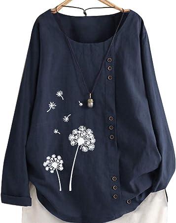Gizayen Mujeres Shirt T-Shirt, Camisa Bordada de Lino de algodón para Mujer, Camiseta Suelta de Manga Larga con Cuello Redondo Informal, con Cuello Redondo Tops de para Primavera Verano Otoño: Amazon.es: Hogar