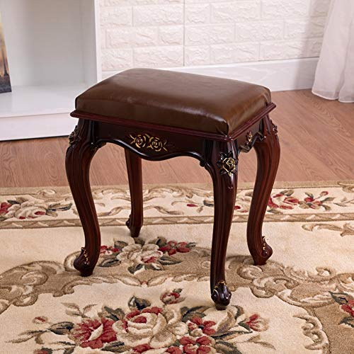 - ATR European Style Leather Stool Leather, Solid Wood Decoration Luxury Ornament Durable Easy Storage Living Room Bedroom Home Multifunctional Stool-C
