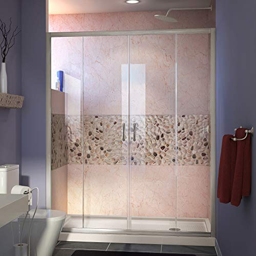 DreamLine Visions 32 in. D x 60 in. W Sliding Shower Door in Brushed Nickel with Right Drain Biscuit Acrylic Shower Base Kit, DL-6961R-22-04