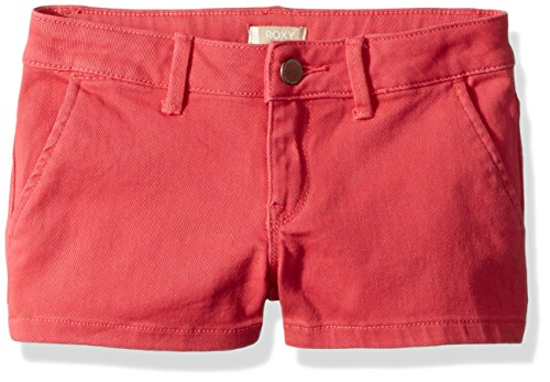 (Roxy Girls' Big Sunset Clouds Denim Shorts, Rouge red 14)