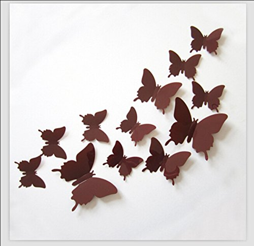 Romantiko 12 Pcs Fashion 3D Butterfly Wall Stickers Art Decor Decal For Home Wedding Party (Fashion Wall)