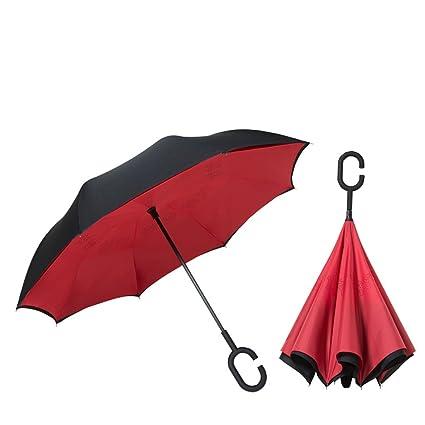 Paraguas Invertido Invertido Doble A Prueba De Viento Y Paraguas Independiente Mango Antideslizante Sin Manos Tipo