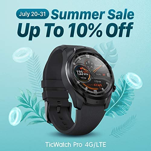 TicWatch Pro 4G LTE Cellular Smartwatch GPS NFC Wear OS by Google Android Health and Fitness Tracker with Calls Notifications Music Swim Sleep Tracking Heart Rate Monitor US Version 4
