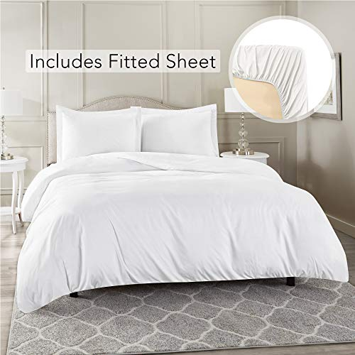 Nestl Bedding Duvet Cover with Fitted Sheet 4 Piece Set - Soft Double Brushed Microfiber Hotel Collection - Comforter Cover with Button Closure, Fitted Sheet, 2 Pillow Shams, King - White