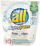 all Mighty Pacs Laundry Detergent, Free Clear for Sensitive Skin, Unscented, Pouch, 22 Count