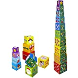 Pidoko Kids Nesting 10 Piece Alphabet and Numbers, Shapes Stacking and Sorting Blocks Cubes / Boxes