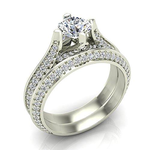 1.55 ct tw Knife Edge Pavé Set Diamond Wedding Ring with Band 14K White Gold (Ring Size (Pave Knife Edge)