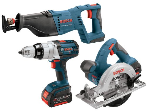 Bosch CLPK401-181 18-Volt Lithium-Ion 4-Tool Combo Kit 1/2-Inch Drill/Driver, Reciprocating Saw, Circular Saw, Flashlight) with 2 Batteries, Charger and Case