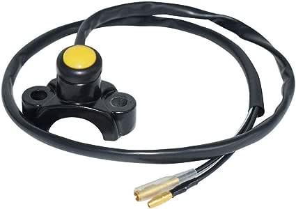 Motos Interruptor de la motocicleta Barra de manillar Montaje Comienzo eléctrico Matar Interruptor de bocina con mazo de cables Botón rojo amarillo negro 7 / 8quot Cambiar (Color : Black button B):