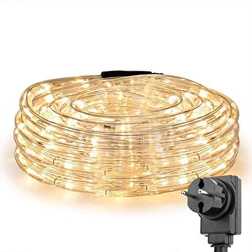 LE LED Lichtslang voor Binnen en Buiten, 12m Lichtketting Lichtsnoer, 200 LED's, warmwit, IP65 Waterdicht LED Koperdraad…