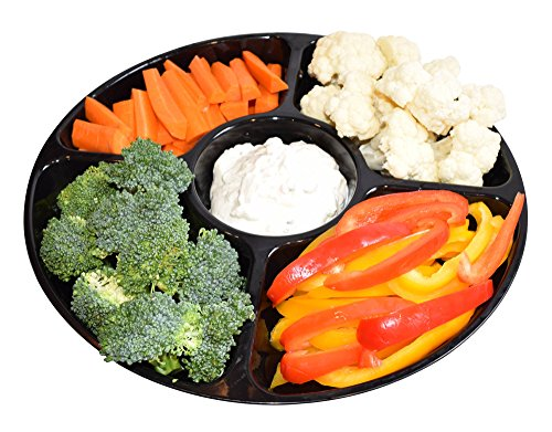 Fruit And Vegetable Trays (JA Kitchens - 5 Compartment Disposable, Round Vegetable / Fruit / Dessert Tray - 12 Inch (Set of 6))