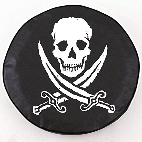 UPC 071235242565, Holland Bar Stool Jolly Roger (Rough) Tire Cover In Black - 25.5 Inch X 8 Inch