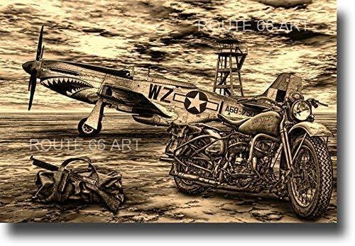 HARLEY DAVIDSON WLA P51 MUSTANG TOMMY GUN WORLD WAR 2 MILITARY BIKER ART PRINT (Harley Davidson Paper)