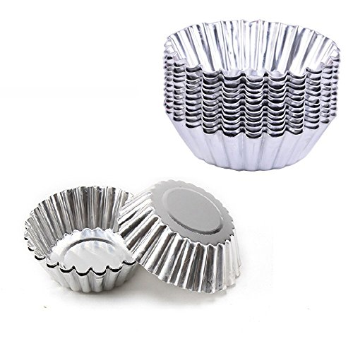 Pack of 20pcs Egg Tart Mold Stainess Steel Cupcake Stand Shells Household Baking Tools (Egg Cupcake)
