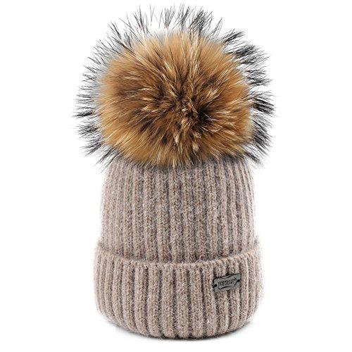 a8fbebb50 FURTALK Winter Knit Pom Pom Hat Angora Wool Parent Child Beanie for Women  Kids Toddler Original (Kid Age 2-8 Years)