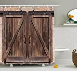 Rustic Shower Curtain by Ambesonne, Wooden Barn Door in Stone Farmhouse Image Vintage Desgin Rural Art Architecture, Fabric Bathroom Decor Set with Hooks, 84 Inches Extra Long, Beige
