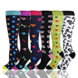 HLTPRO Compression Socks for Men and Women - Best for Running, Athletic, Nurse, Travel (6 Pairs,Dog Paw Dots, Small/Medium)
